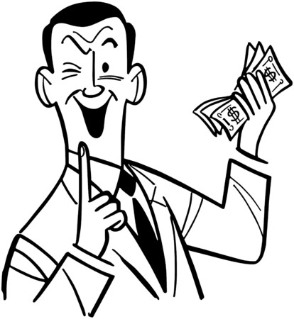 cash: Man With Wad Of Cash Illustration