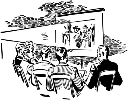 Men Watching Movie Vector
