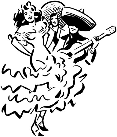 spanish dancer: Mexican Entertainment Illustration