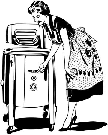 ママは洗濯  イラスト・ベクター素材