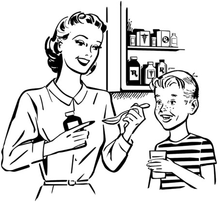 colds: Mom Giving Medicine To Son