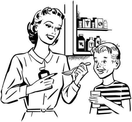 nursing bottle: Mom Giving Medicine To Son