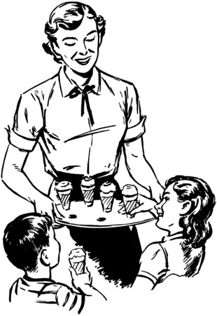 Mom Serving Ice Cream Illustration