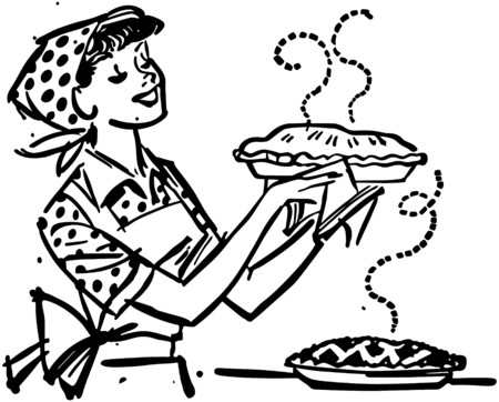 Mom With Fresh Baked Pies Vector