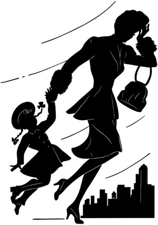 runs: Mother With Daughter Illustration