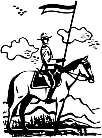 Mountie On Horseback Vector