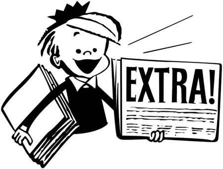 Newspaper Boy Illustration