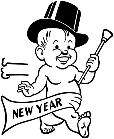 New Years Baby Vector