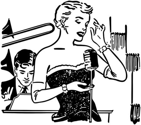 trombones: Nightclub Singer Illustration
