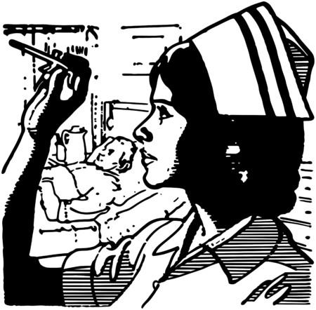 patients: Nurse Reading Thermometer Illustration