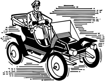 motorcars: Old Fashioned Car Illustration
