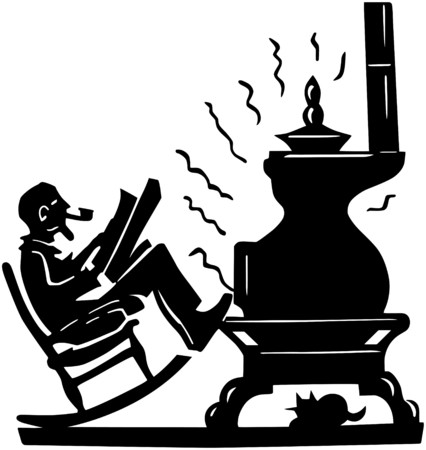 Old Man With Pot Bellied Stove Vector