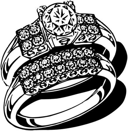 Opulent Wedding Ring Set Vector