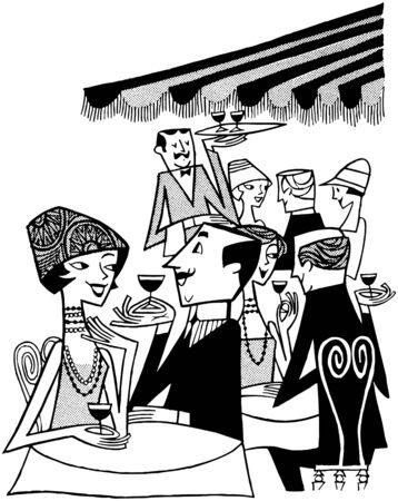 pareja comiendo: Escena al aire libre Caf_