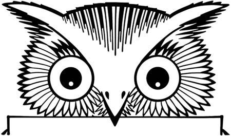 tweets: Peeking Owl Motif Illustration