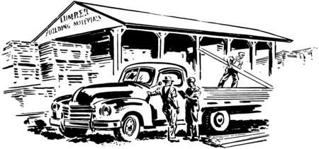 Pickup Truck And Lumber Yard Vector Illustration