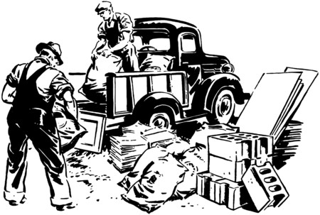 Pickup Truck And Workmen Stock Illustratie