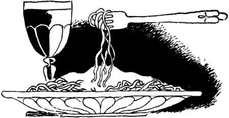 dinners: Plate Of Spaghetti Illustration