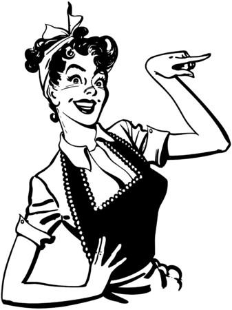 vintage lady: Wijzend Huisvrouw Stock Illustratie