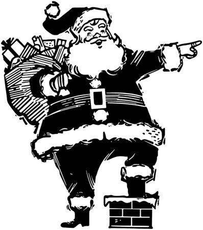 st nick: Pointing Santa Illustration