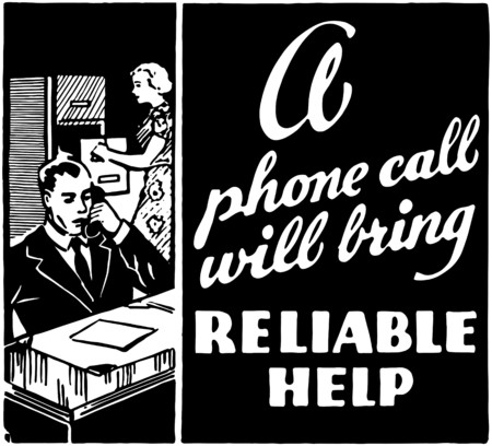 woman on phone: Reliable Help Illustration