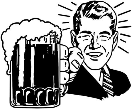 レトロ: レトロなビールの男  イラスト・ベクター素材