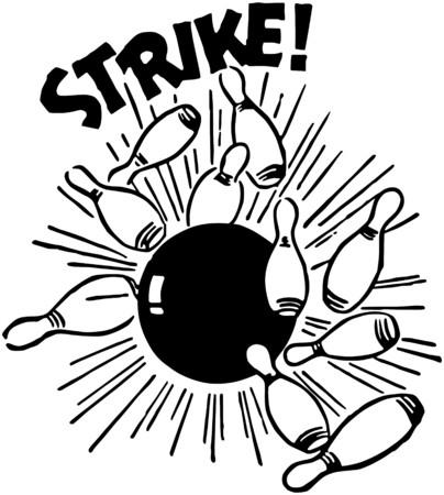 レトロ: ストライク !  イラスト・ベクター素材