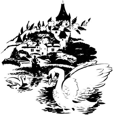 Swans In The Lake Illustration