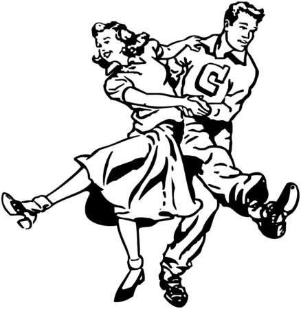 Swing Dancers Illustration