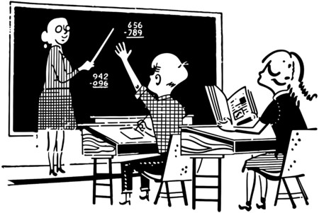 Teacher And Students In Class Vector