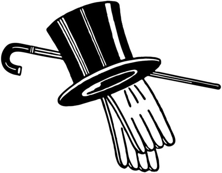 Top Hat Handschoenen En Riet Stock Illustratie