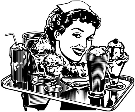 vintage lady: Retro Diner Serveerster Stock Illustratie