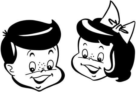Retro Kids Illustration