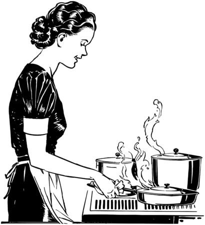 mujeres cocinando: Se�ora Retro Cooking Vectores