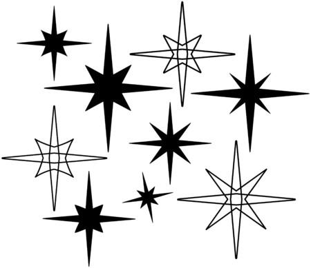 Retro Stars 7 Vectores