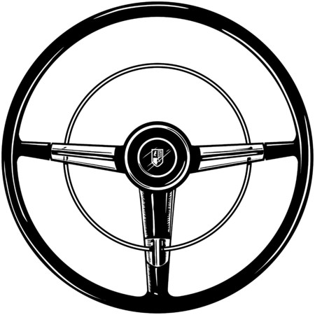 Retro Steering Wheel Vector
