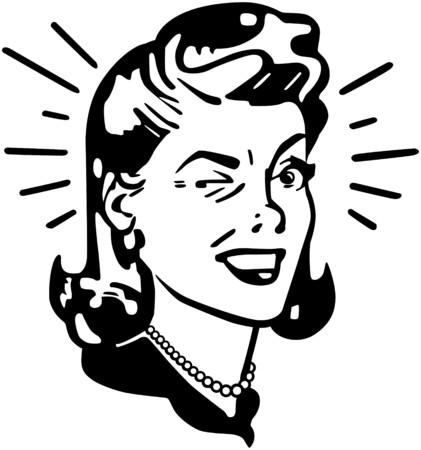 Retro vrouw knipogen Stock Illustratie