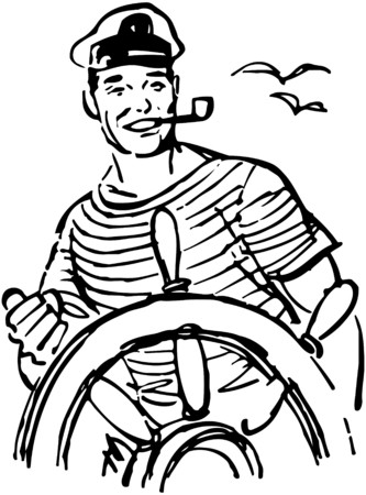 Sailor At The Helm Vector
