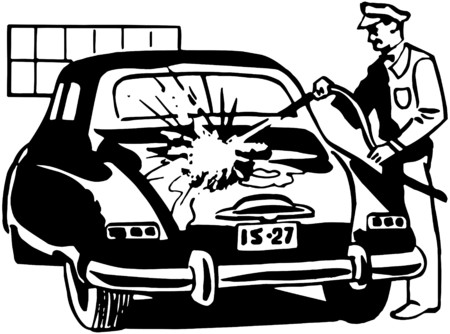 Serviceman Washing Car Illustration
