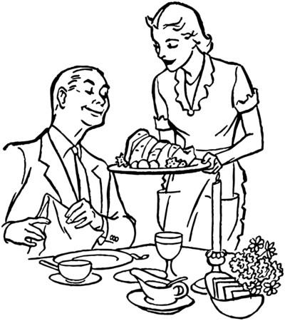 dinners: Serving Dinner Illustration