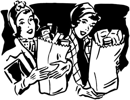 grocers: Shoppers With Groceries 1 Illustration