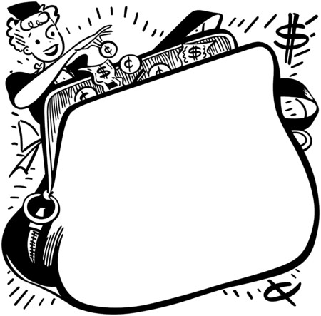 pennies: Shopper With Change Purse Ad Frame Illustration