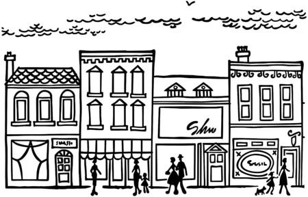 Small Town Main Street Vector