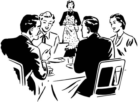 Dos pares que cenan Vectores