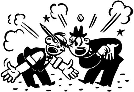 disagreeing: Two Men Arguing Illustration