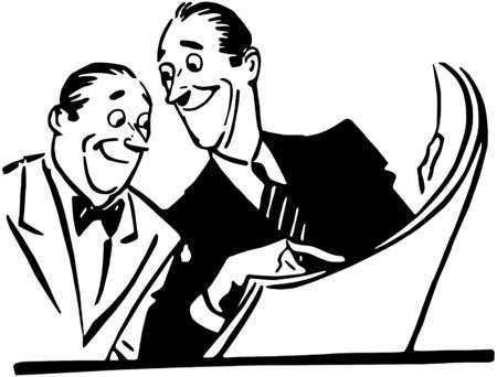 Deux hommes lecture du journal