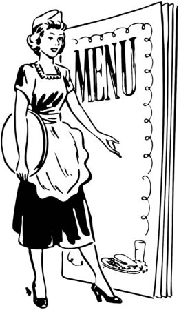 dinners: Waitress With Menu Behind