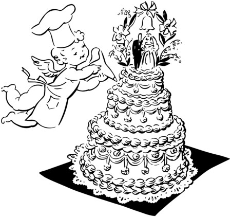 Wedding Cake And Cherub Vector