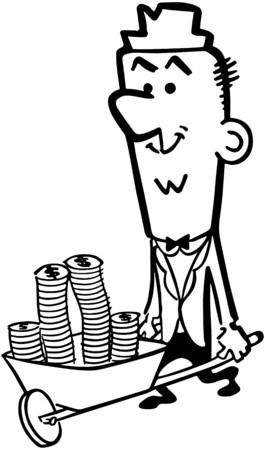 wealthy man: Wheelbarrow Full Of Cash Illustration