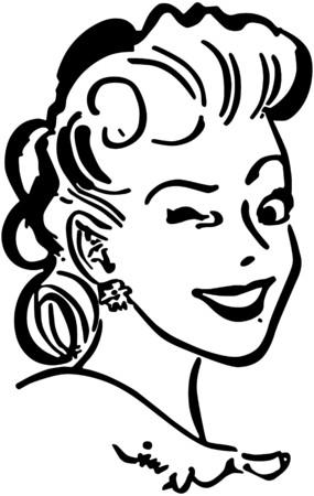 Winking Gal Illustration